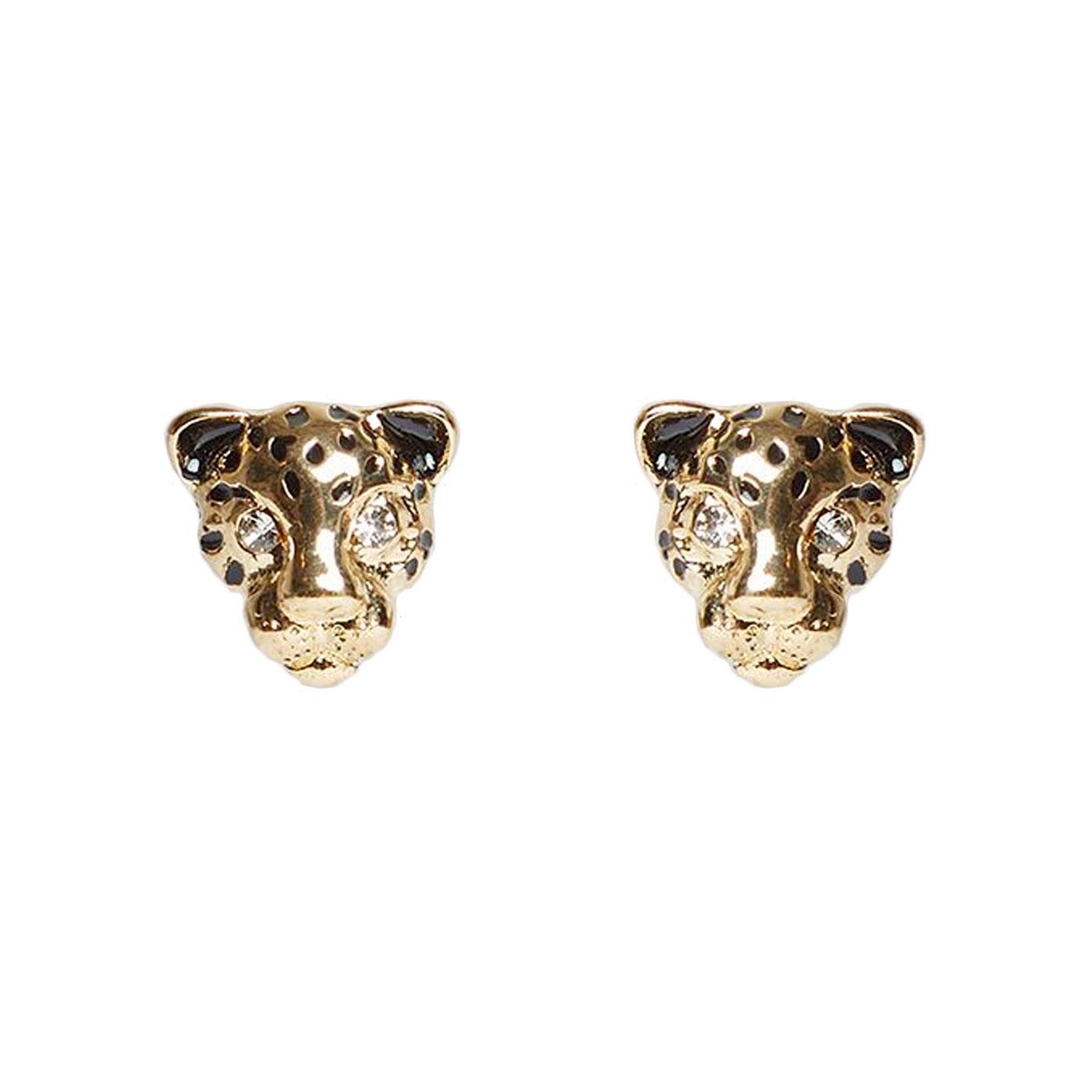 + Niger LOUCHE Vintage Tiger Stud Earrings In Gold