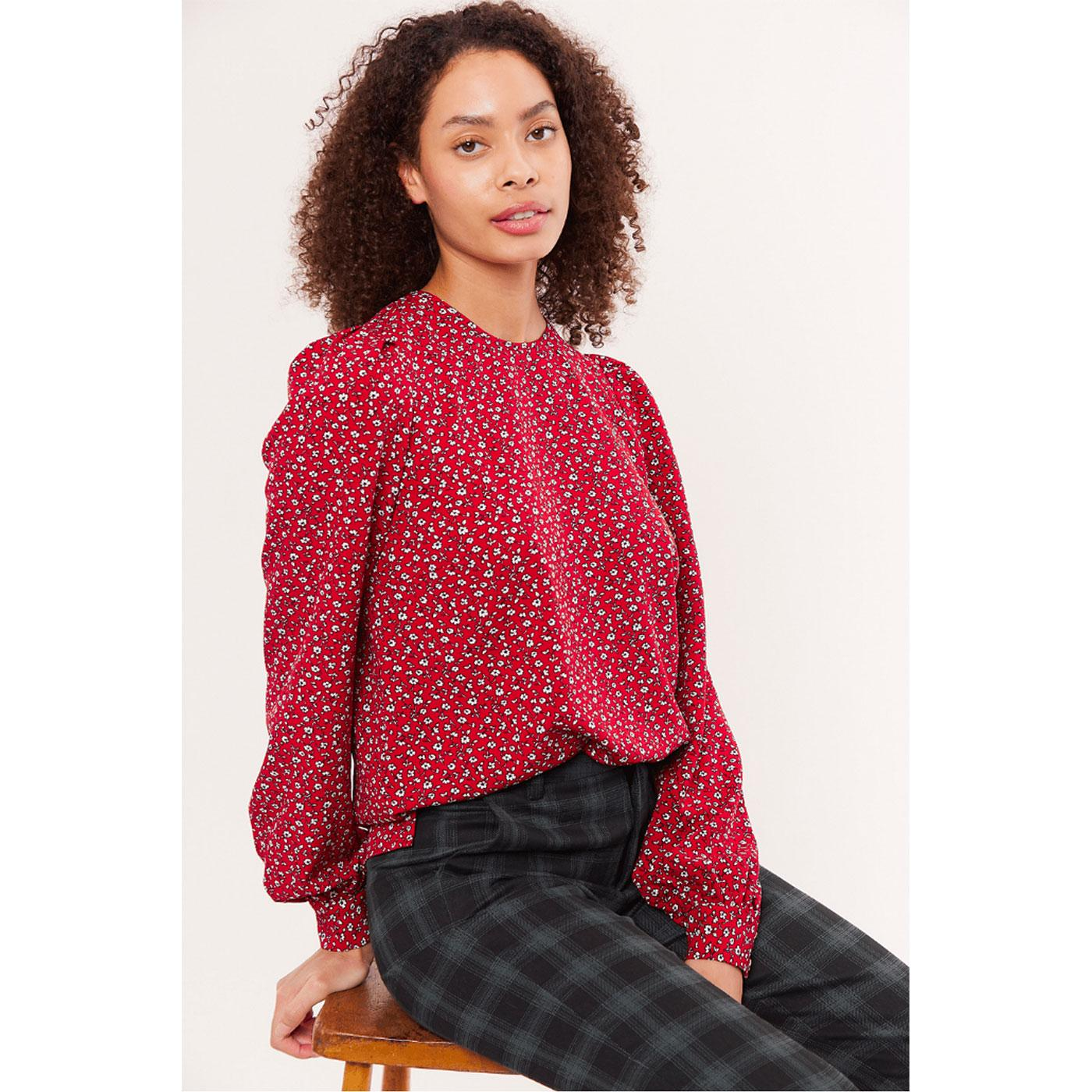 Lima LOUCHE LONDON Retro Forget Me Not Top in Red