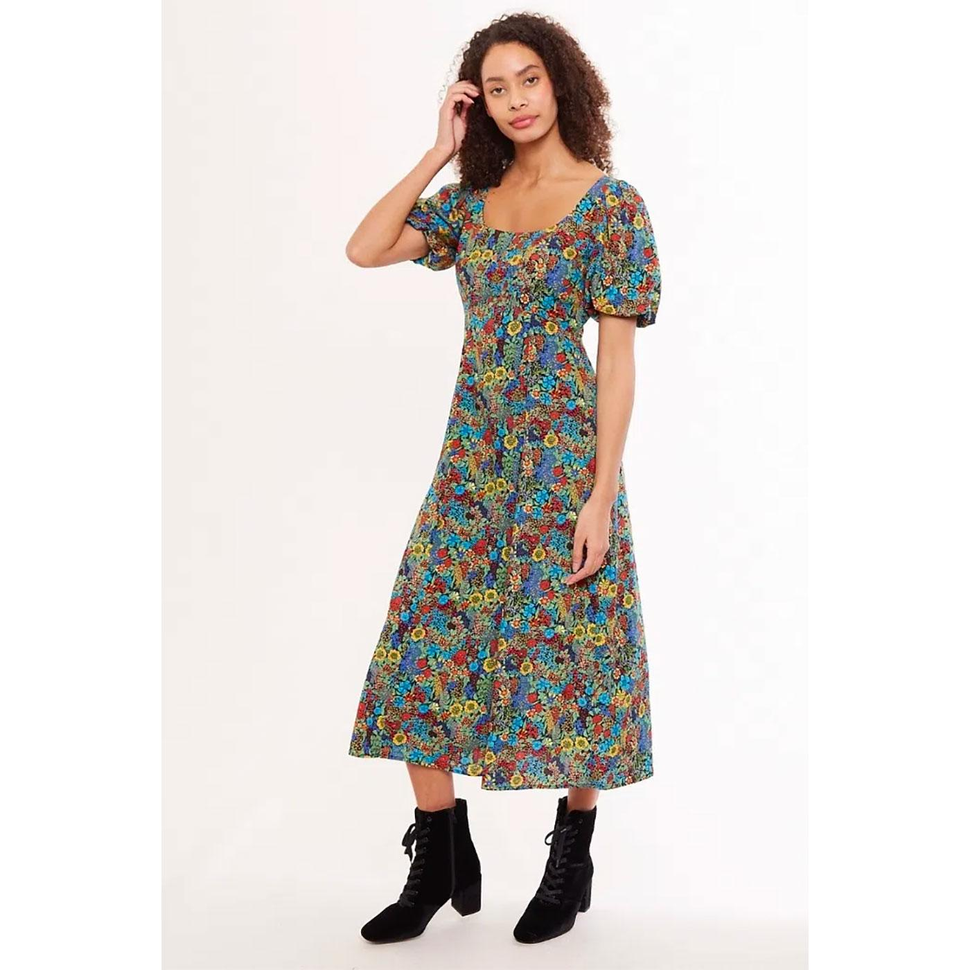 Nadine LOUCHE LONDON Retro Square Neck Midi Dress