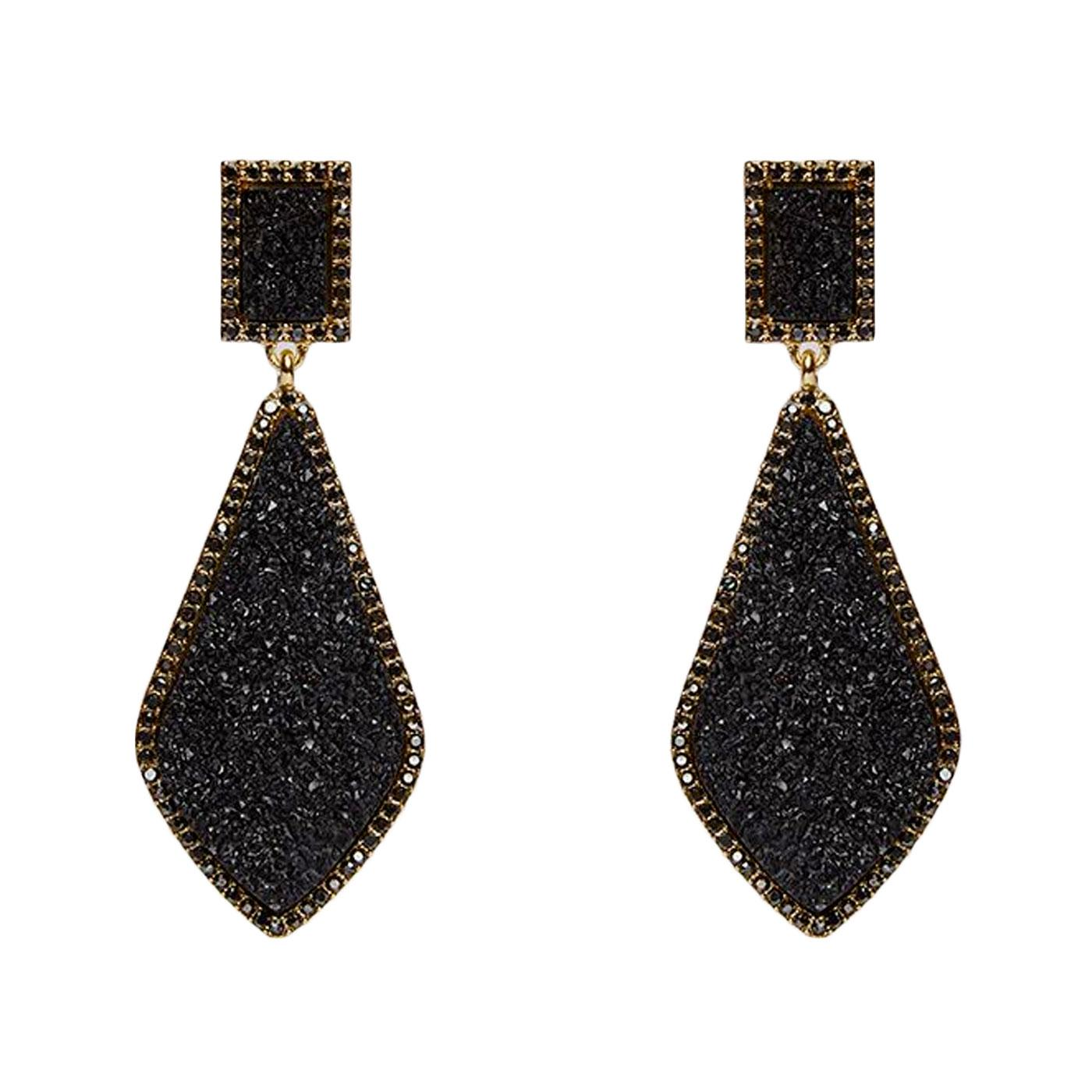 +Naomi LOUCHE Crystal Drop Stud Earrings In Black