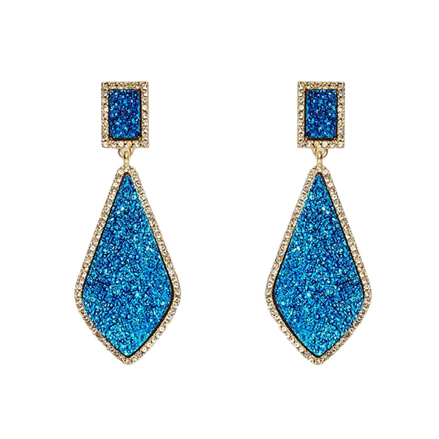 +Naomi LOUCHE Crystal Drop Stud Earrings In Blue