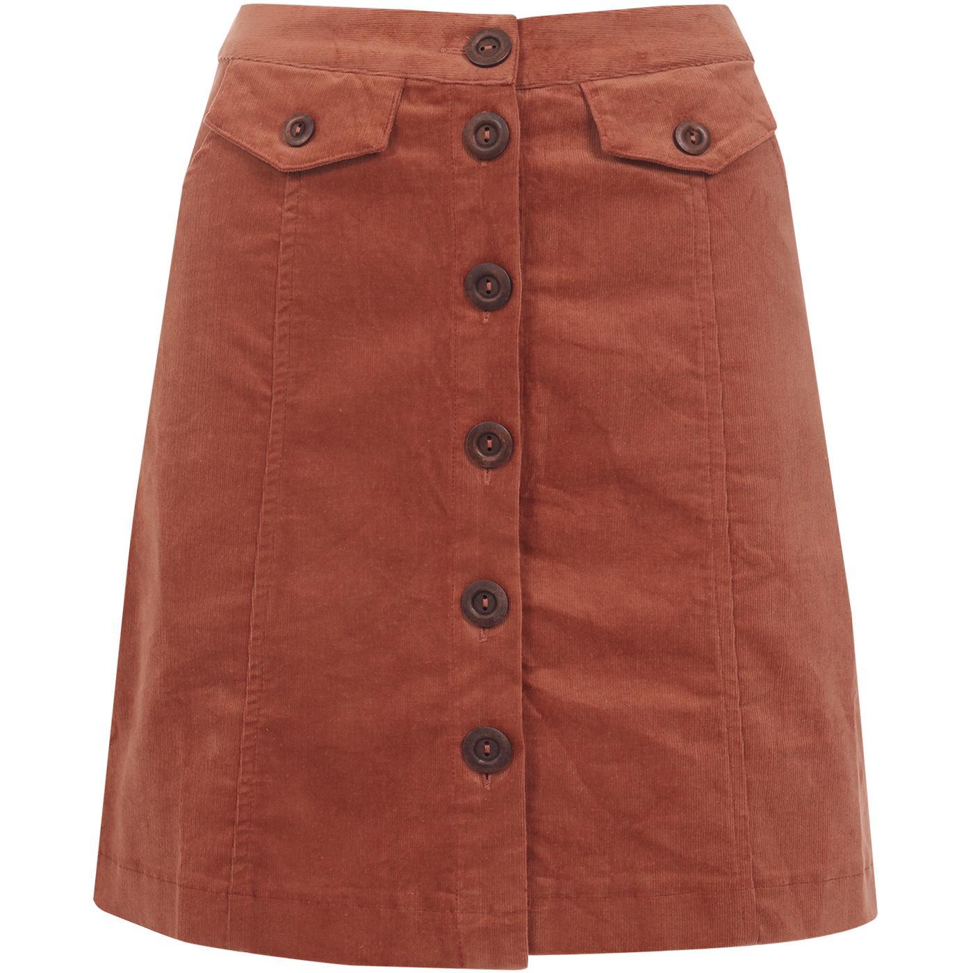 Neola LOUCHE Button Through Cord Skirt Dark Peach
