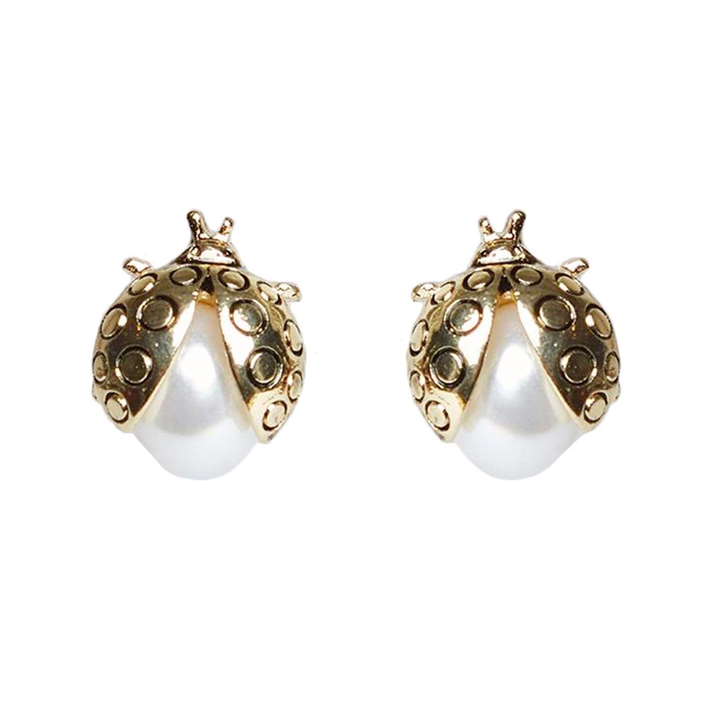 + Oren LOUCHE Vintage Ladybird Stud Earrings Gold