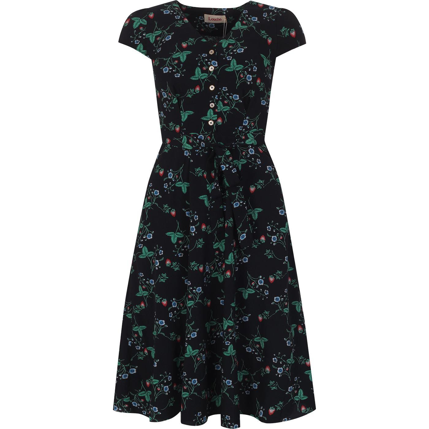 Cathleen LOUCHE Mini Strawberry Print Tea Dress