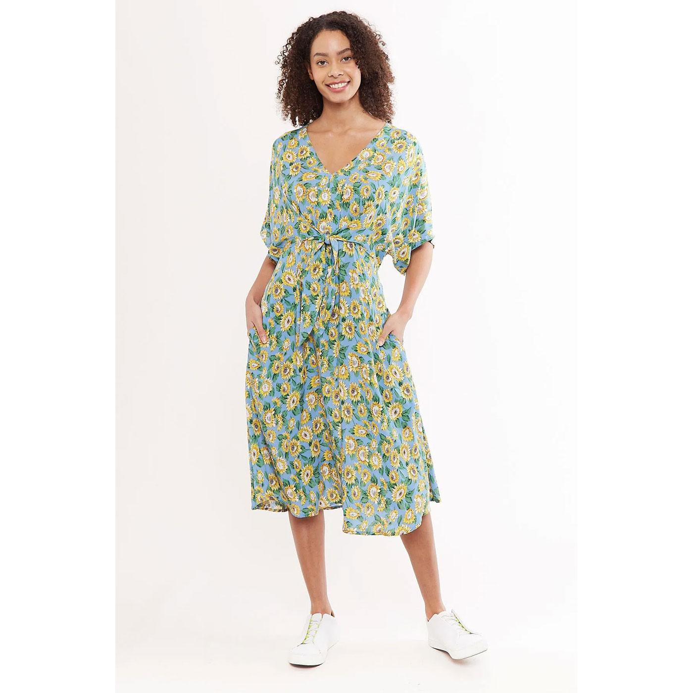 Elody LOUCHE Sunflower Tie Waist Midi Summer Dress