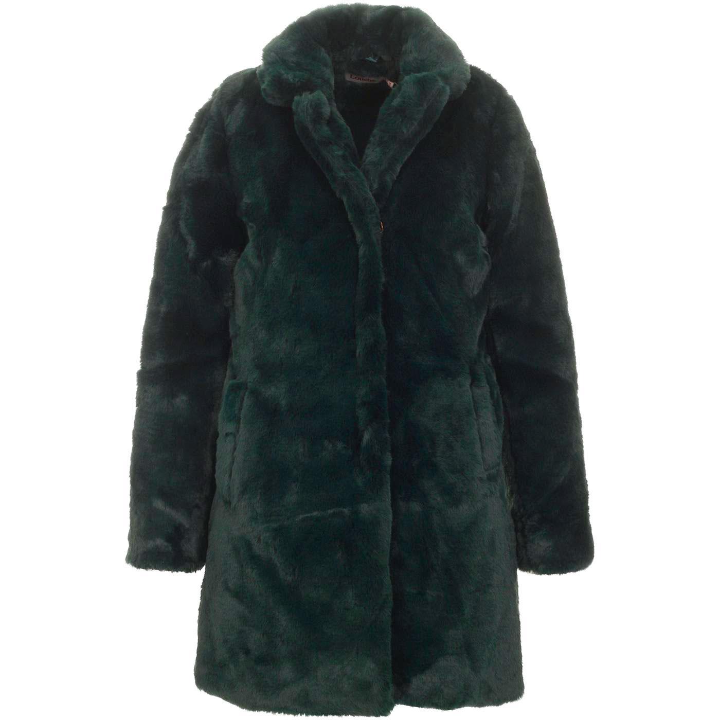 Wainwright LOUCHE Vintage Faux Fur Coat In Green