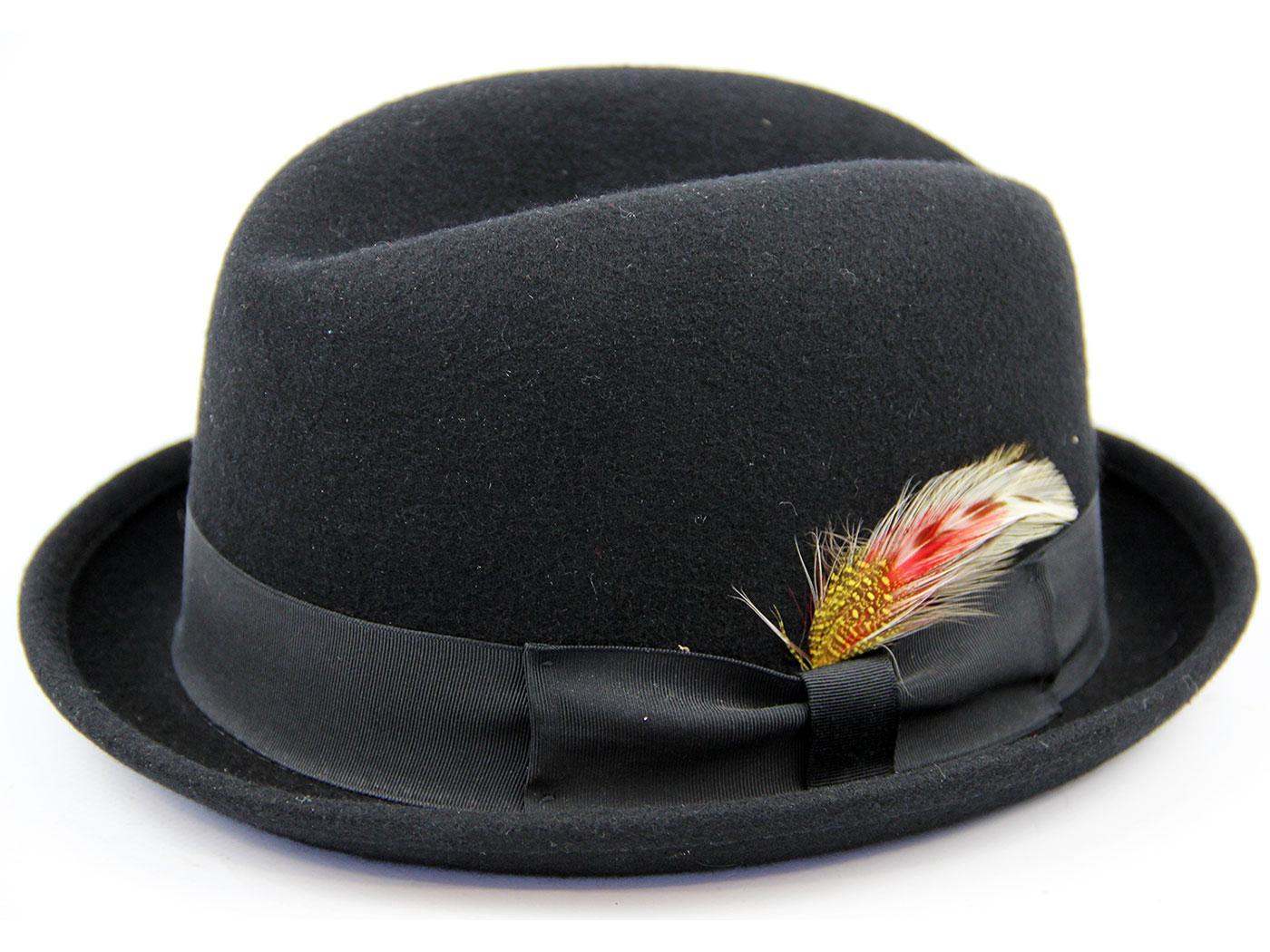 Rude Boy Retro Mod Wool Felt Trilby Hat (Black)