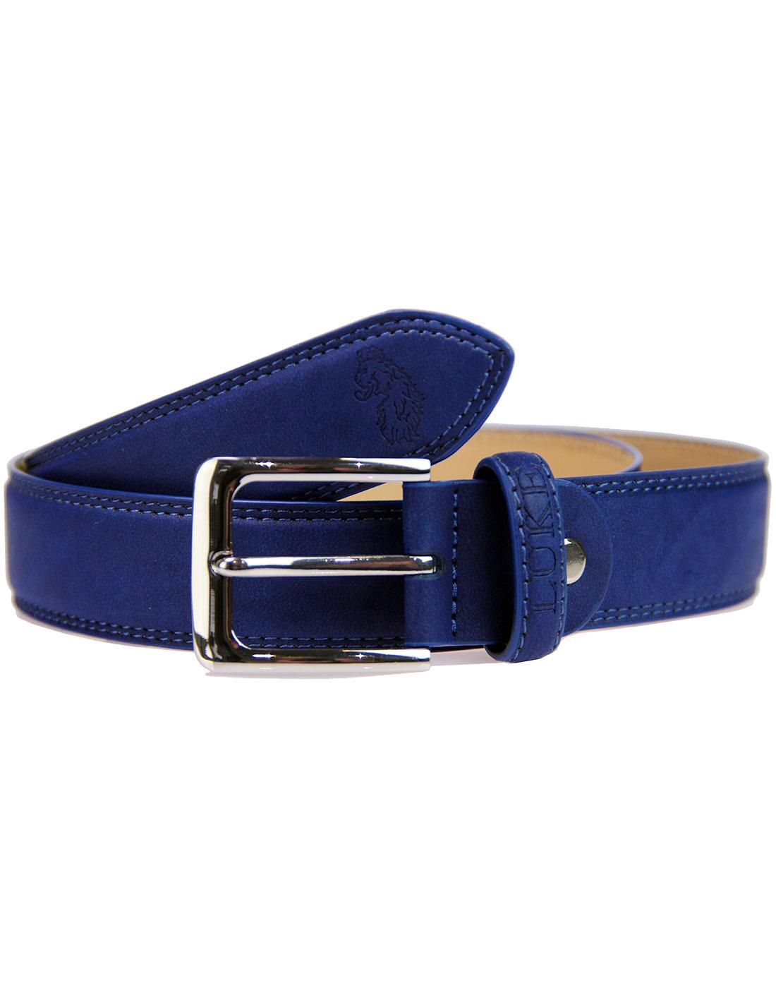 Bowden LUKE 1977 Leather Lion Embossed Belt NAVY
