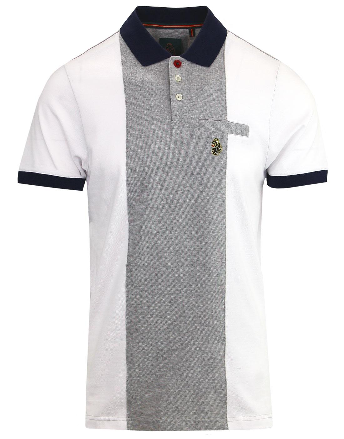 Warner LUKE Retro Mod Pique Panel Polo Shirt WHITE