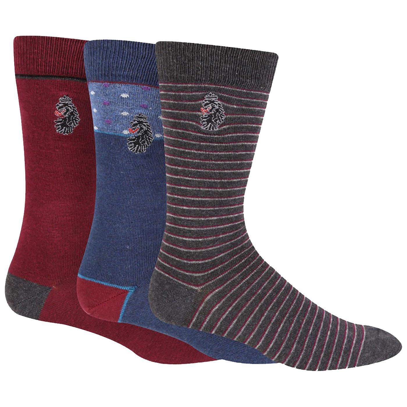 + Bovey LUKE Men's Retro 3-Pack Logo Socks WINE