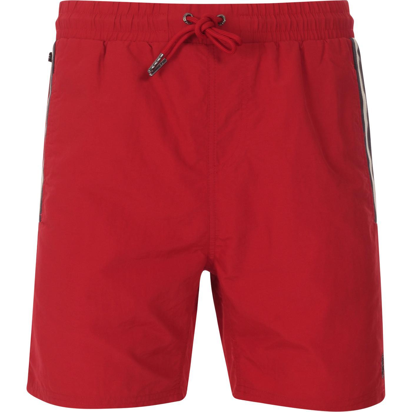 Caen LUKE Retro Mod Piping Swim Shorts Red