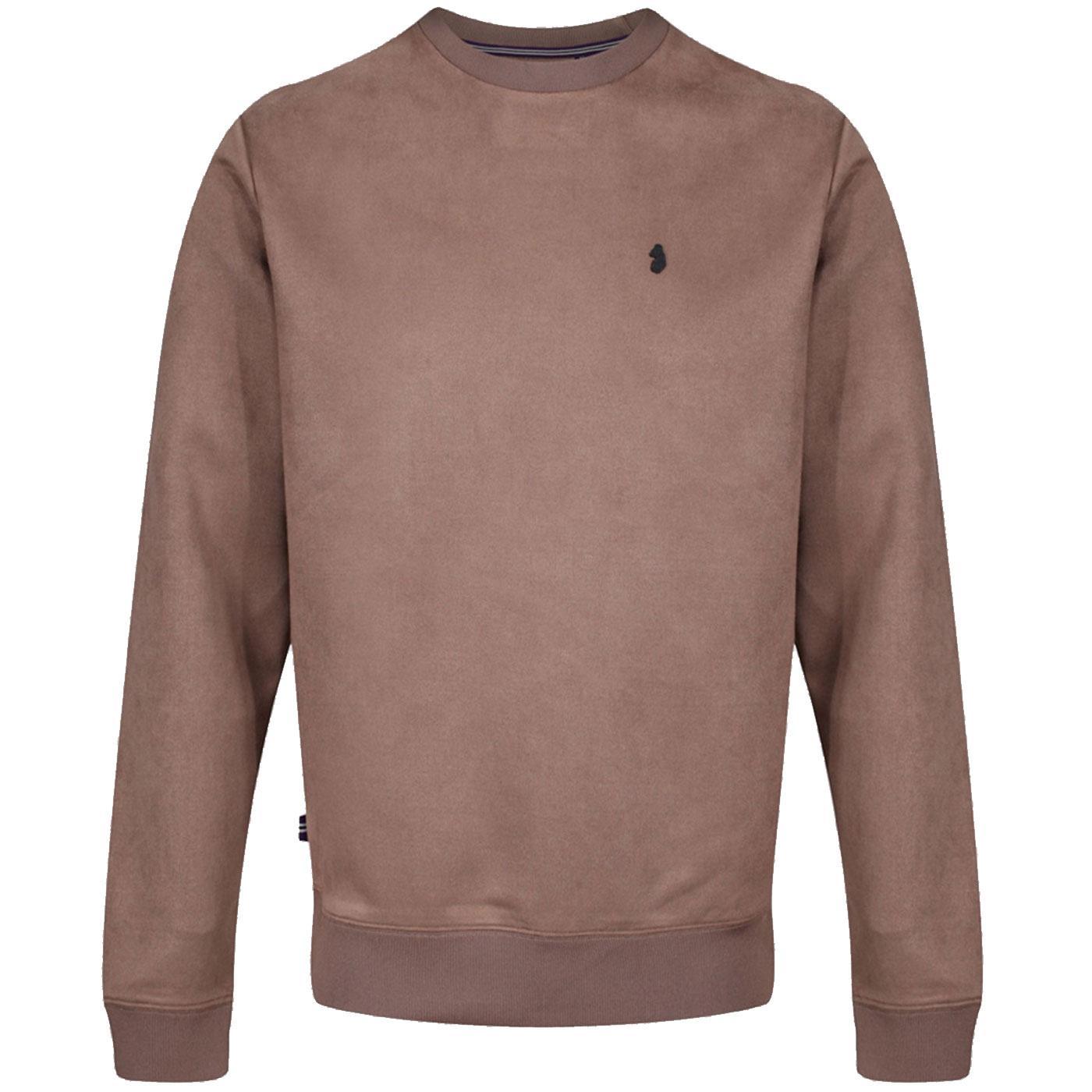 Dennis LUKE Mens Retro Faux Suede Sweatshirt