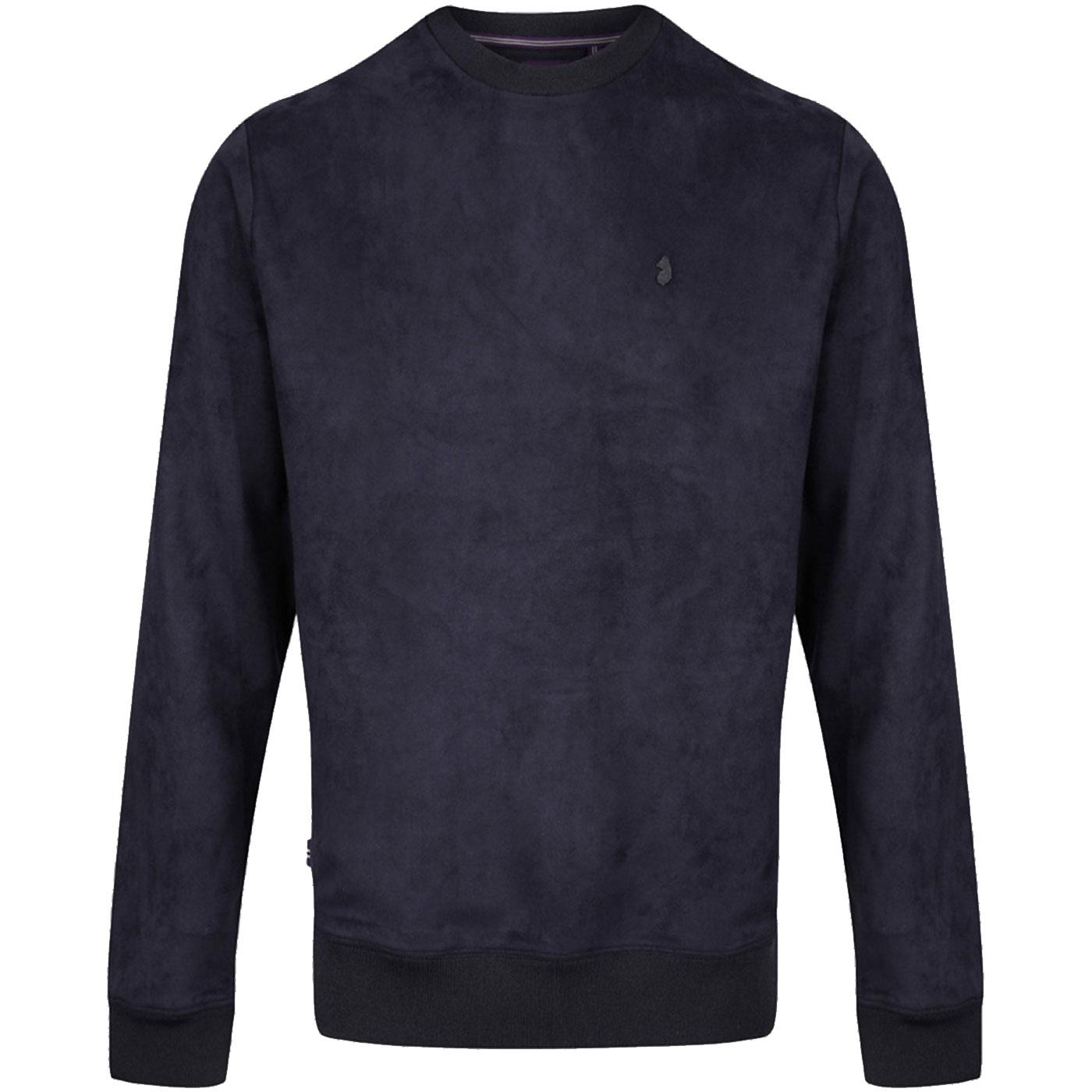 Dennis LUKE Mens Retro Faux Suede Sweatshirt VDN