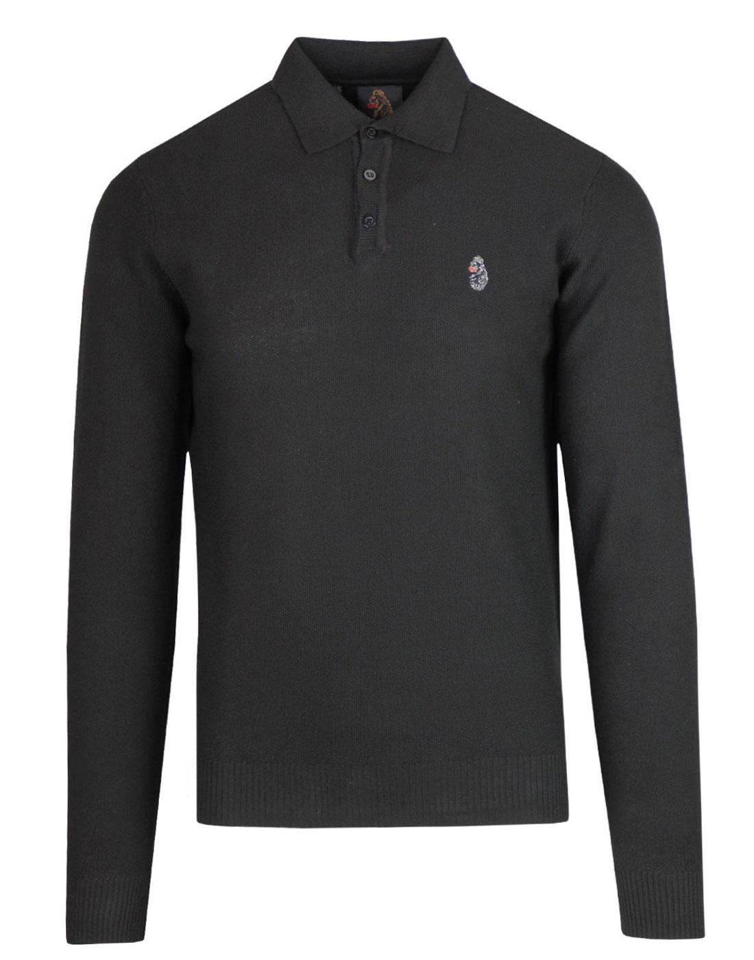 Milk LUKE Men's Retro Mod Knitted Polo Shirt BLACK