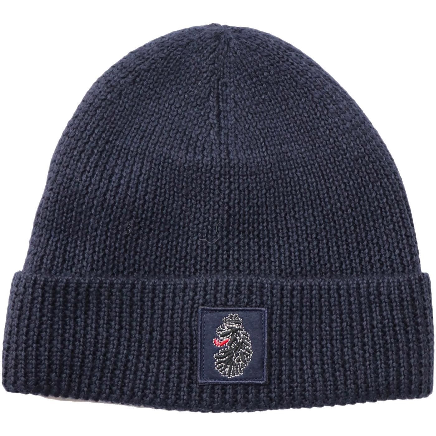 Nash LUKE Retro Knitted Cuffed Beanie Hat (Navy)