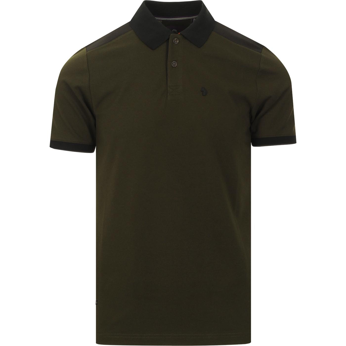 Newplant LUKE Jacquard Shoulder Panel Polo (Olive)