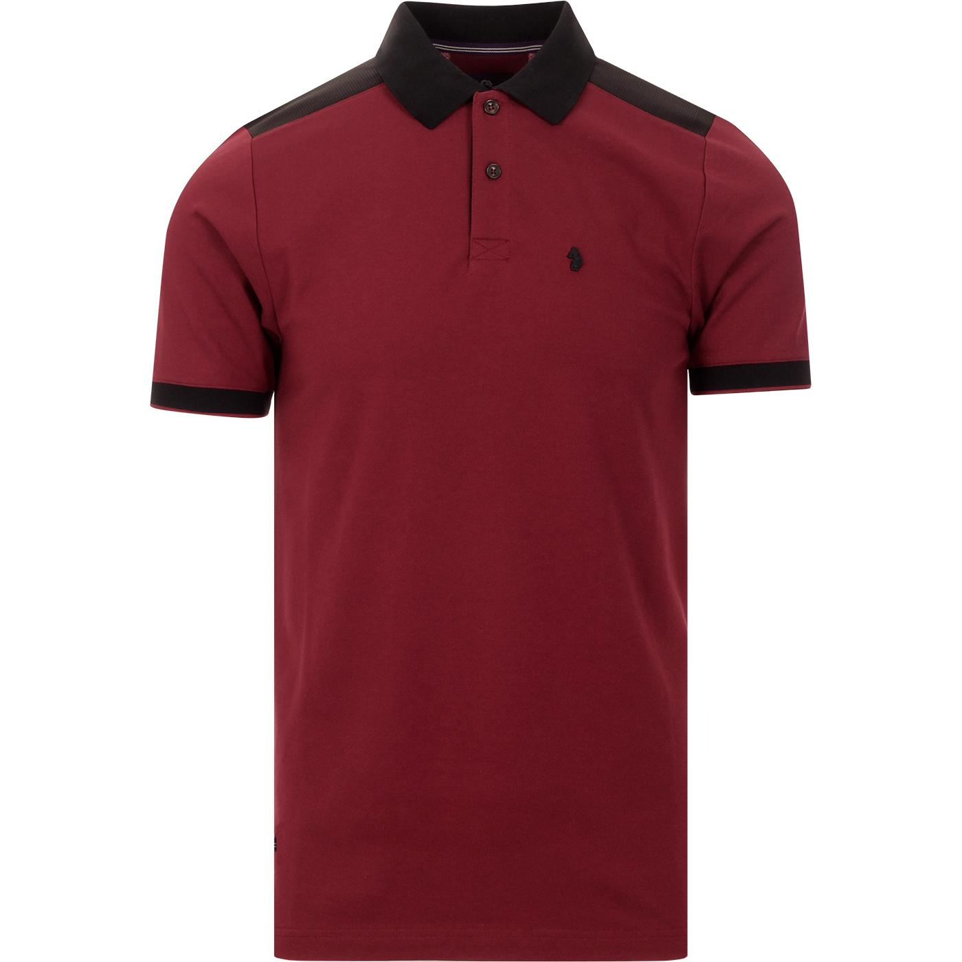 Newplant LUKE Jacquard Shoulder Panel Polo (Ruby)