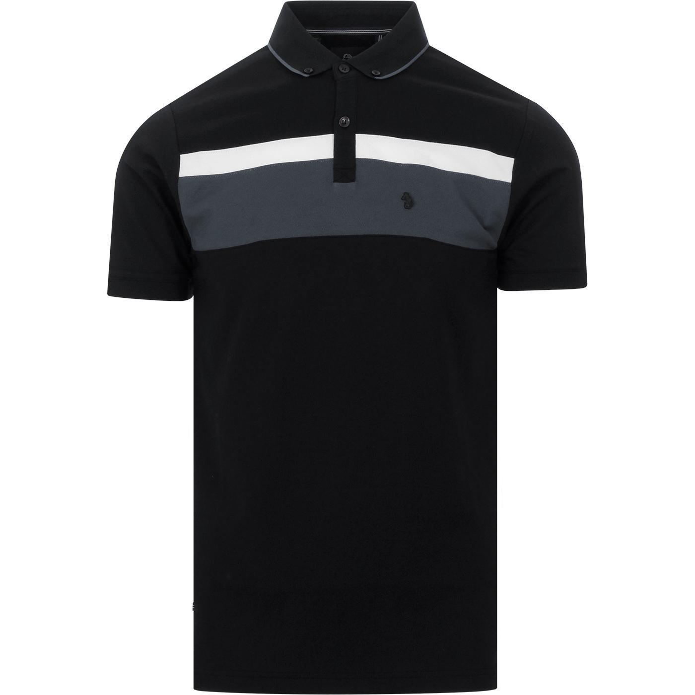 Outdy Nial LUKE Retro Mod Chest Stripe Polo BLACK