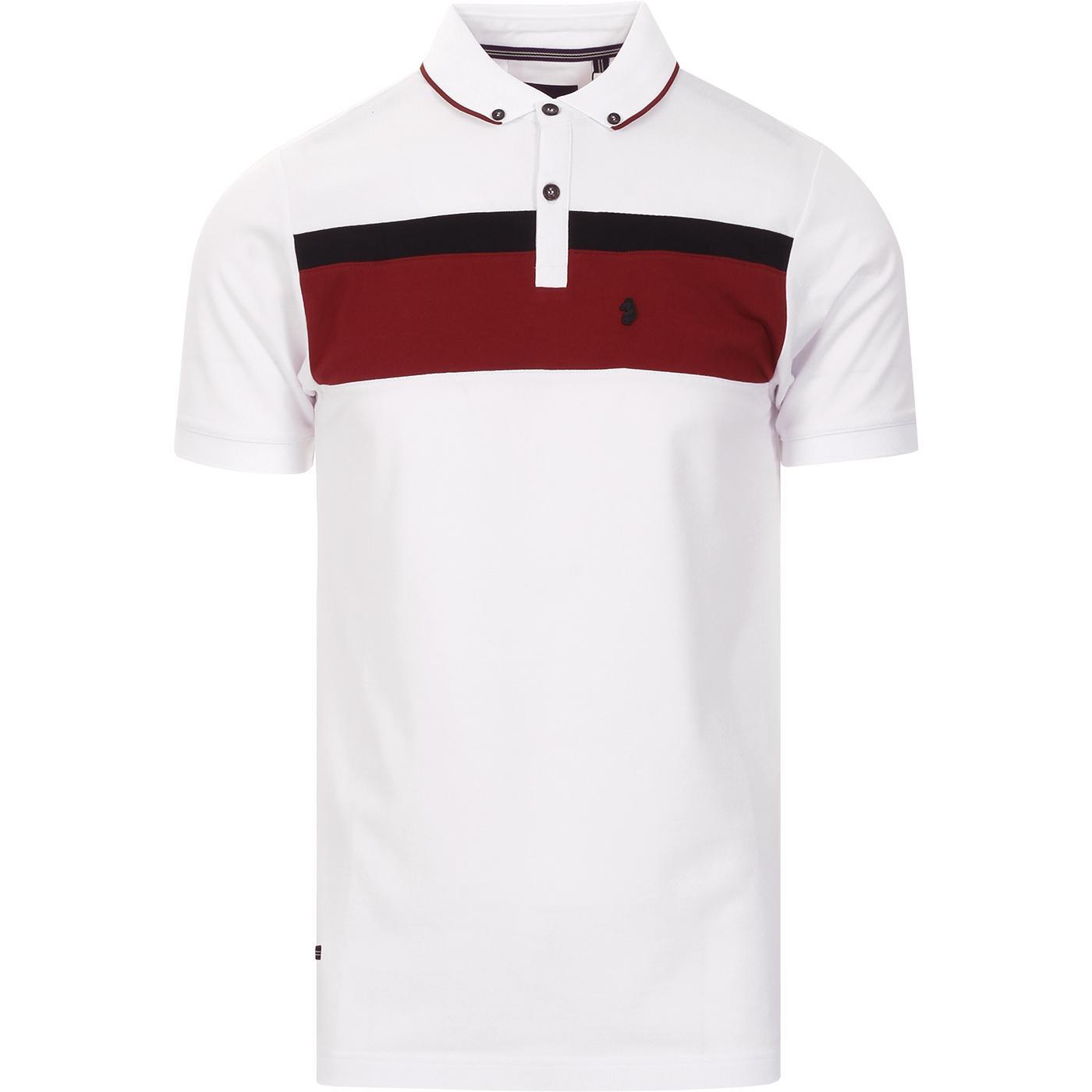 Outdy Nial LUKE Retro Mod Chest Stripe Polo WHITE