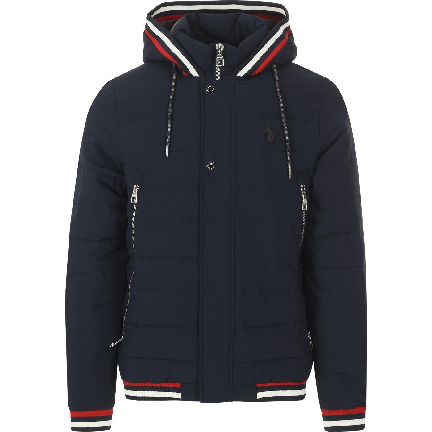 Quinn LUKE Retro Tipped Quilted Hooded Jacket NAVY