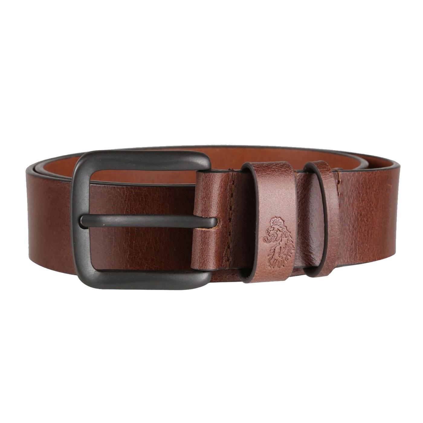Summit LUKE Debossed Logo Leather Belt (Brown)