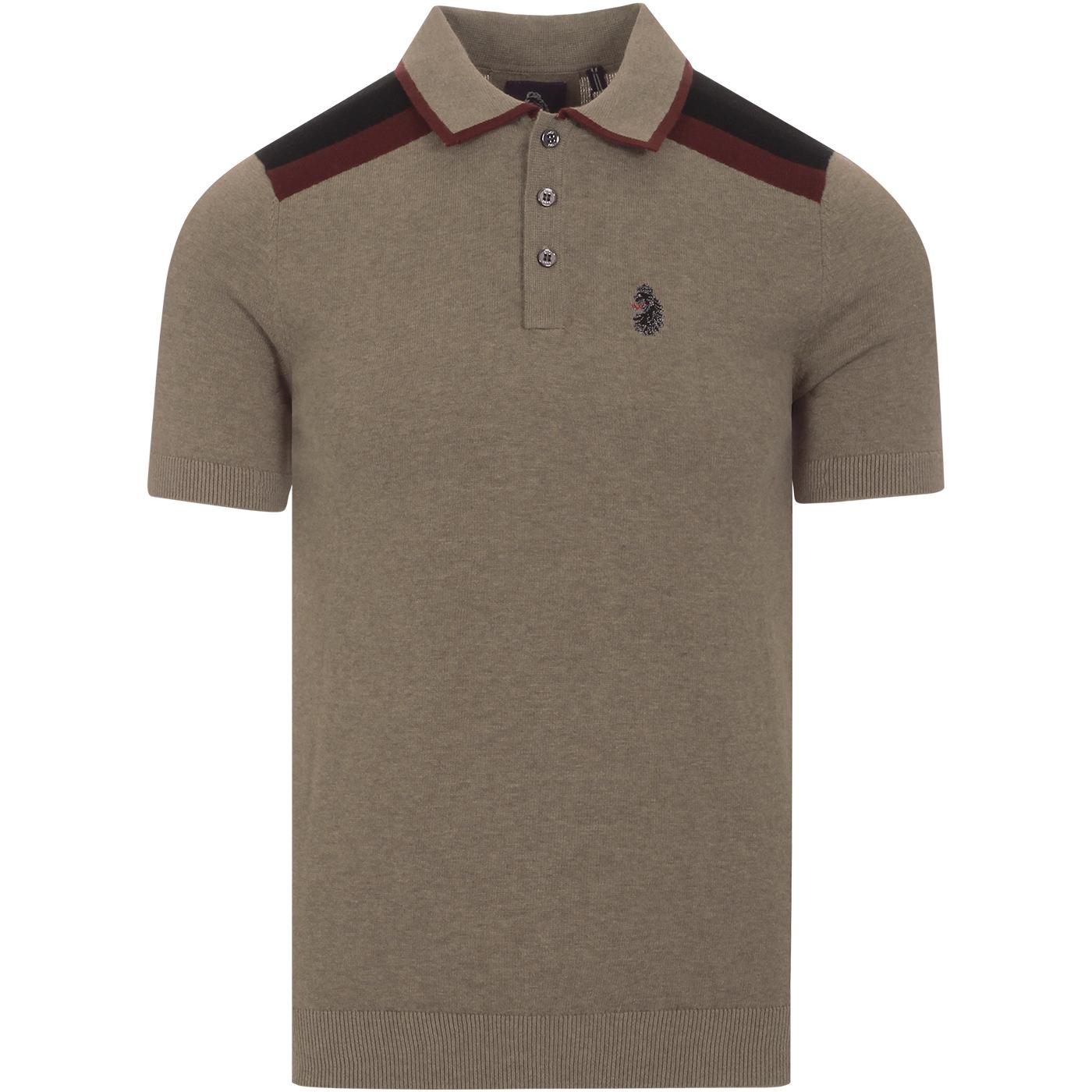 Town Crier LUKE Retro Mod Knit Panel Polo Top (O)