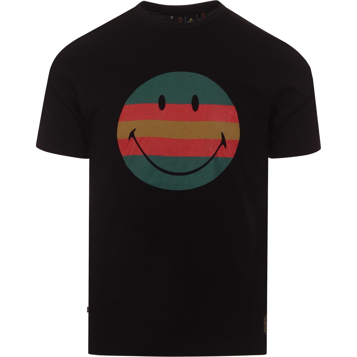LUKE x SMILEY Vibes Retro Stripe Rave Tee (Black)
