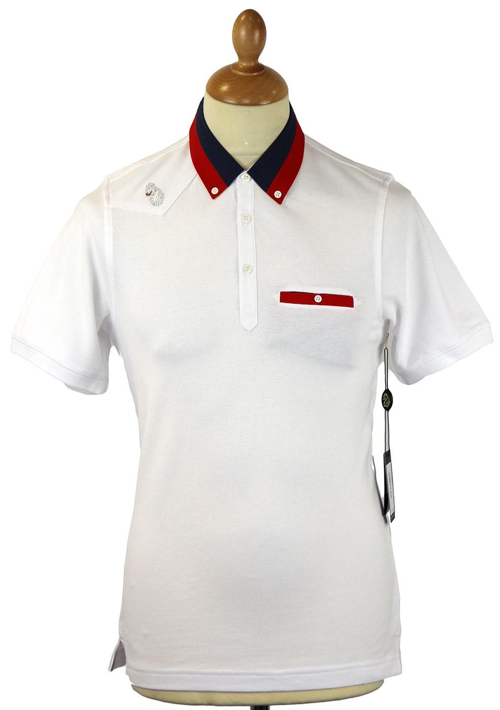 Lockins A LUKE 1977 Retro Mod Fabric Mix Polo (W)