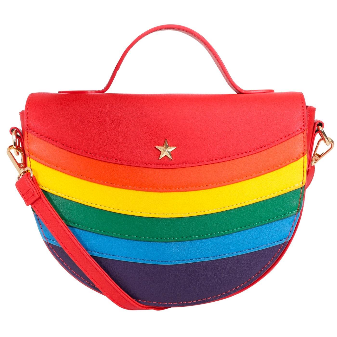 Gioia LULU HUN Retro 70s Rainbow Saddle Bag in Red