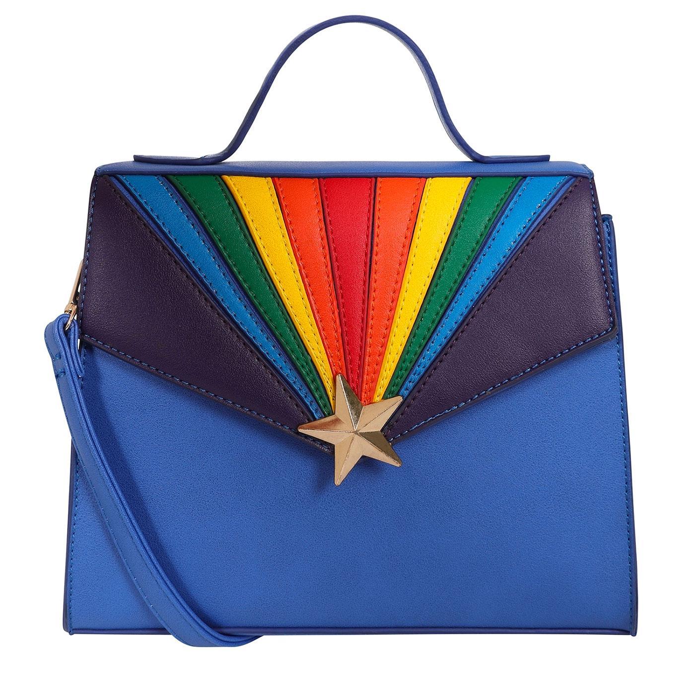 Lara LULU HUN Retro 70s Rainbow Handbag in Blue
