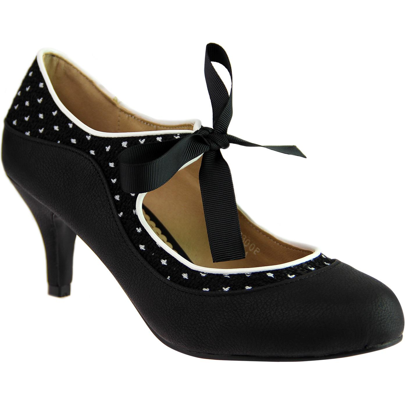 Jeanie LULU HUN Black and White Polka Dot Heels