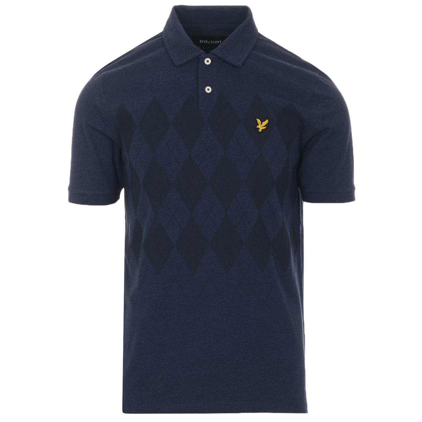 LYLE & SCOTT Retro Mod Argyle Print Polo Top NAVY