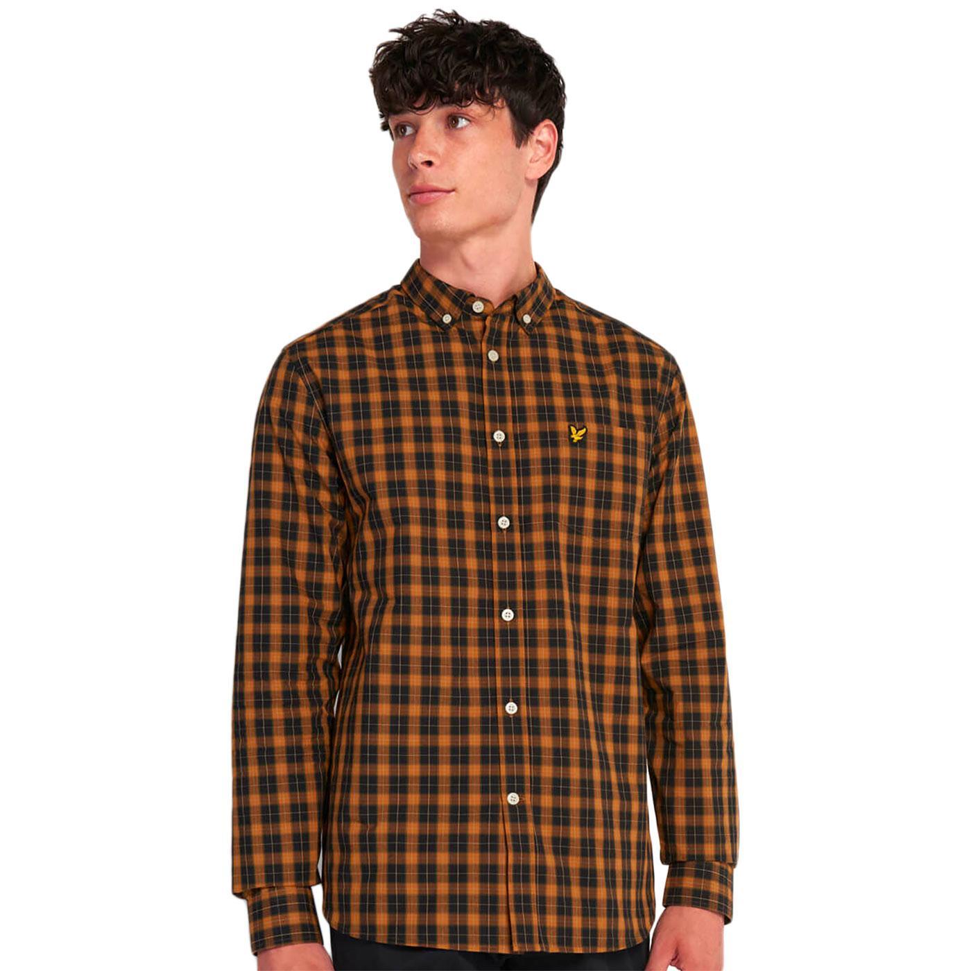 LYLE & SCOTT Retro Mod Tartan Shirt in Caramel