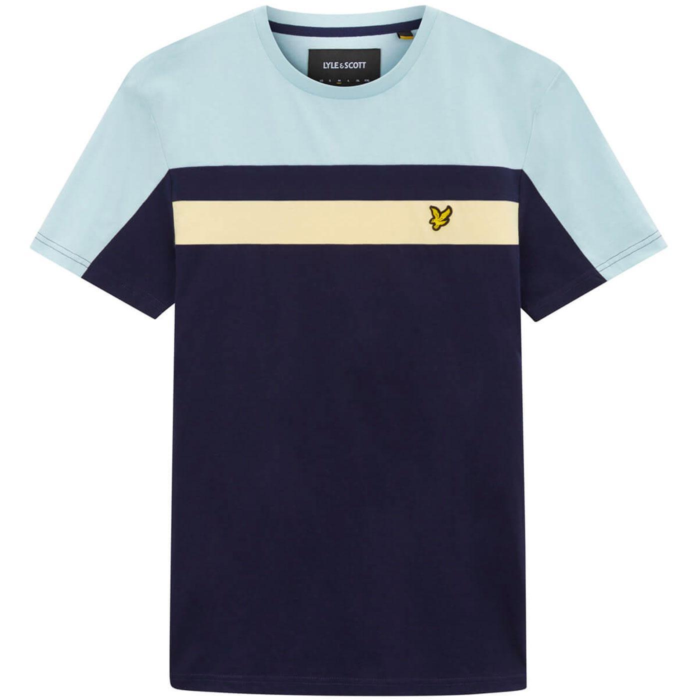 LYLE & SCOTT Mens Retro Colour Block T-shirt NAVY