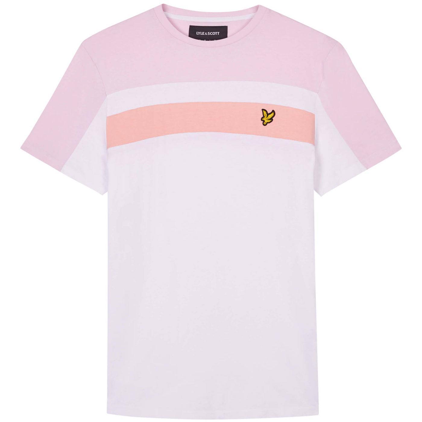 LYLE & SCOTT Mens Retro Colour Block T-shirt WHITE