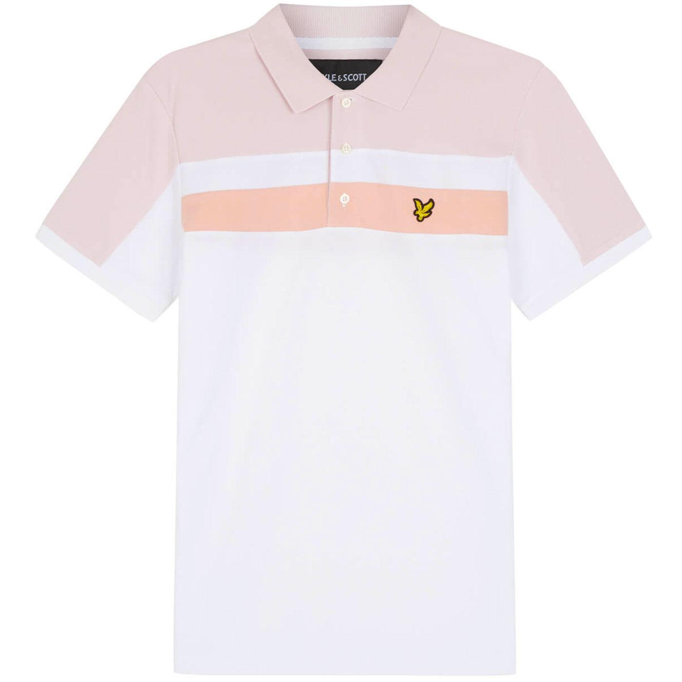 LYLE & SCOTT 70s Mod Colour Block Polo White/Pink