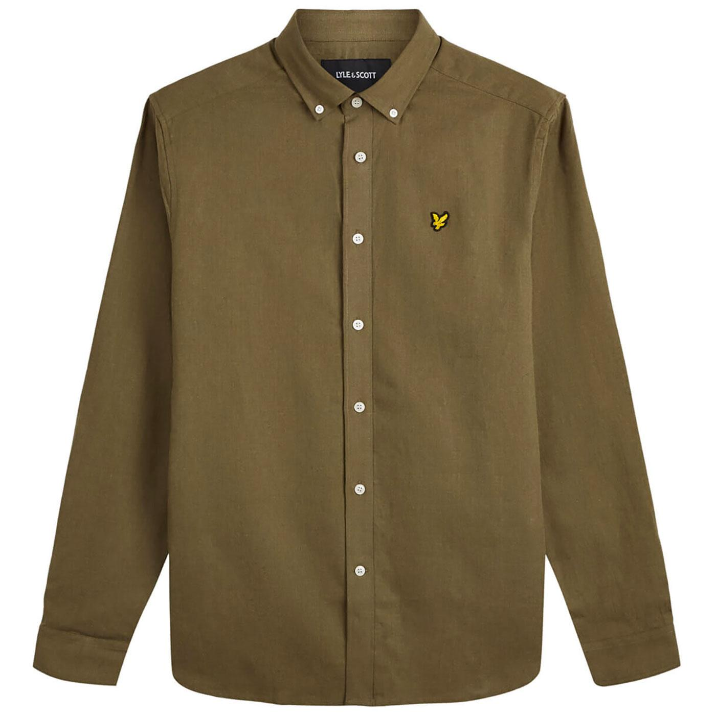 LYLE AND SCOTT 60s Mod BD Cotton Linen Shirt (LG)