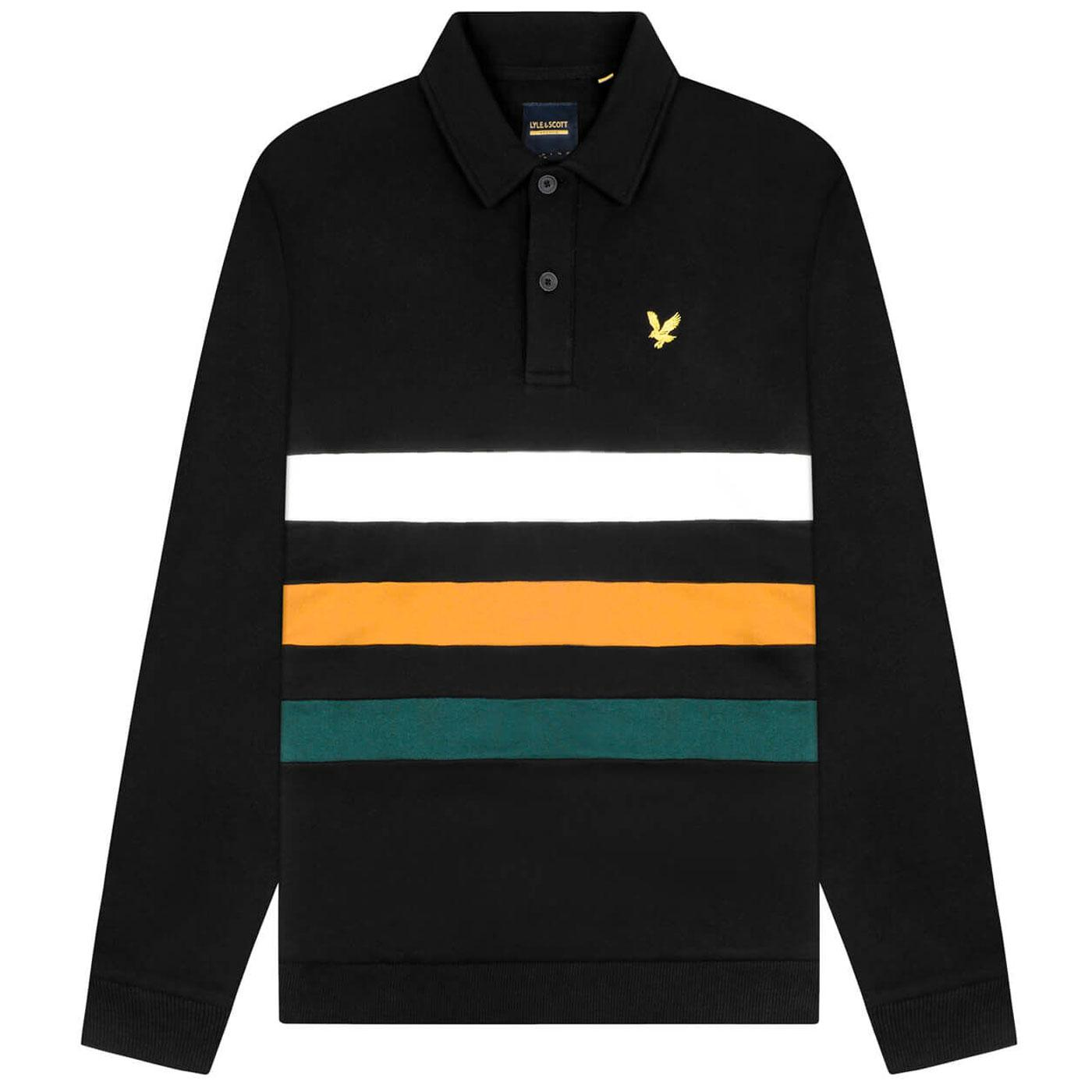 LYLE & SCOTT Retro 90s Cut & Sew Long Sleeve Polo