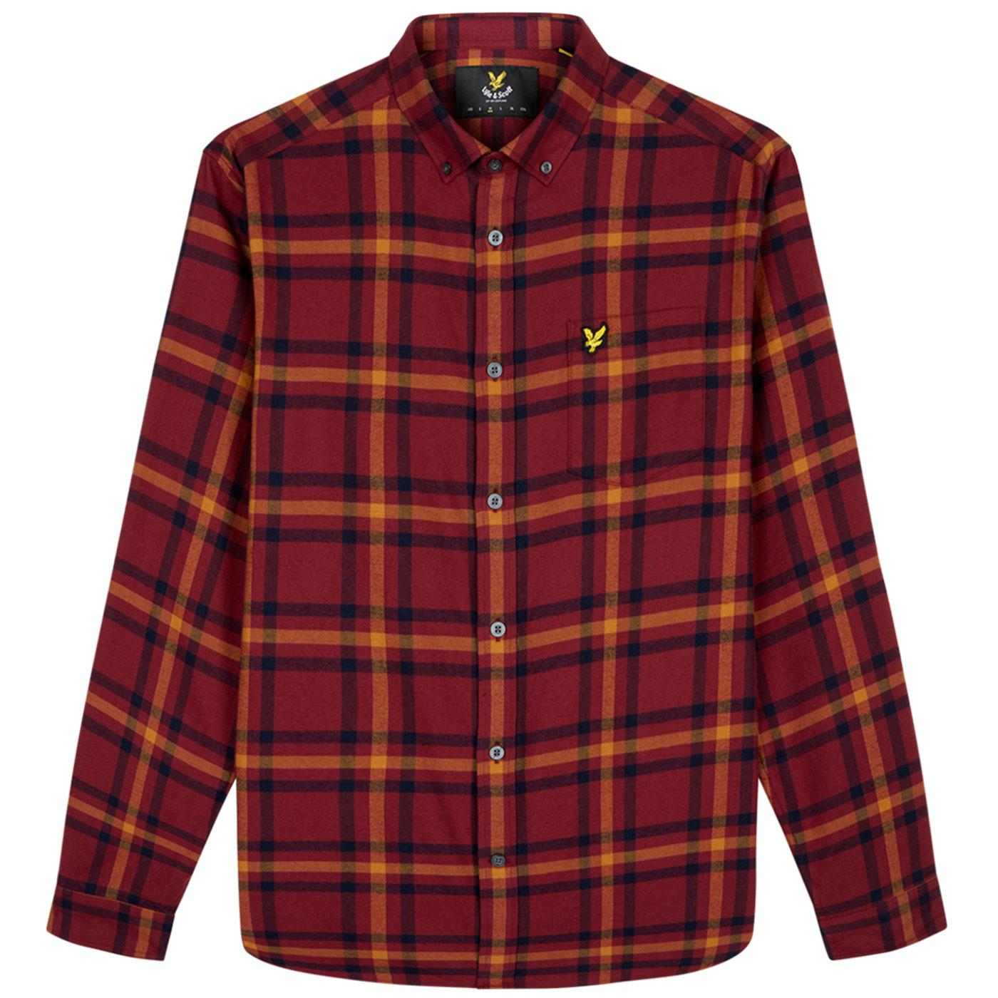 LYLE & SCOTT Retro Mod Flannel Check Shirt CLARET