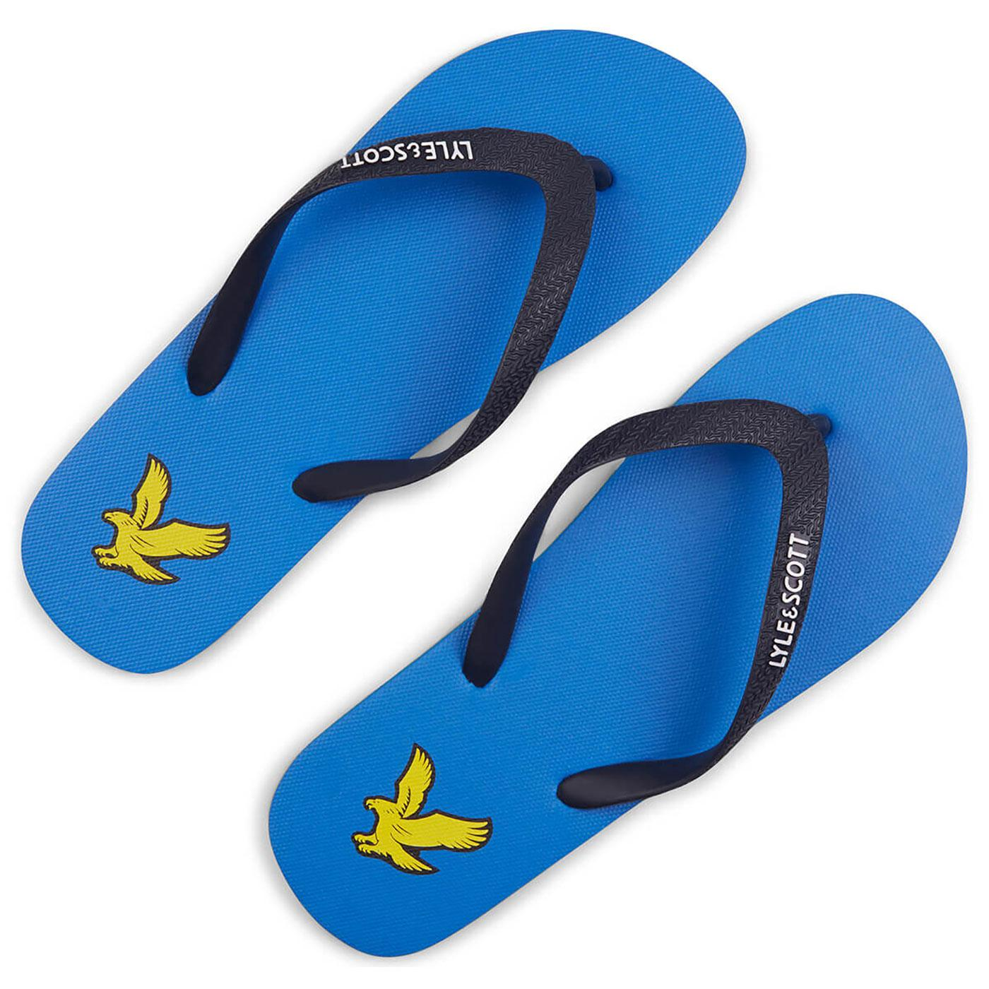 LYLE & SCOTT Mens Retro Logo Flipflip Sandals BLUE