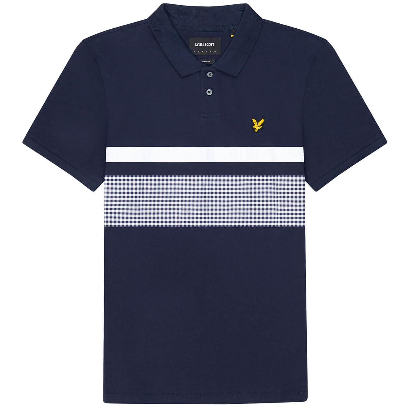 LYLE & SCOTT Mod Gingham Yoke Stripe Polo Top (DN)
