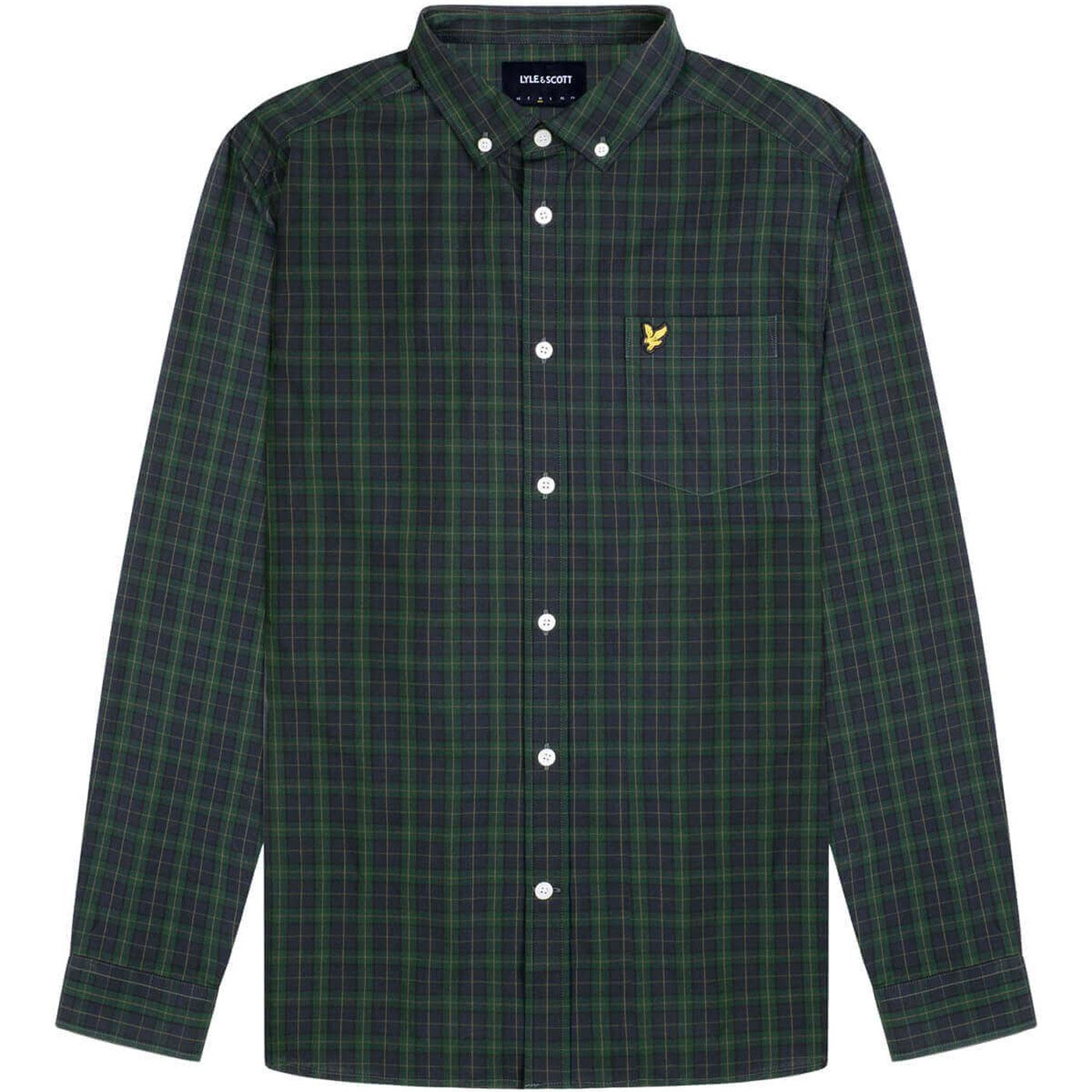 LYLE & SCOTT Retro Mod Tartan Shirt in Navy/Green