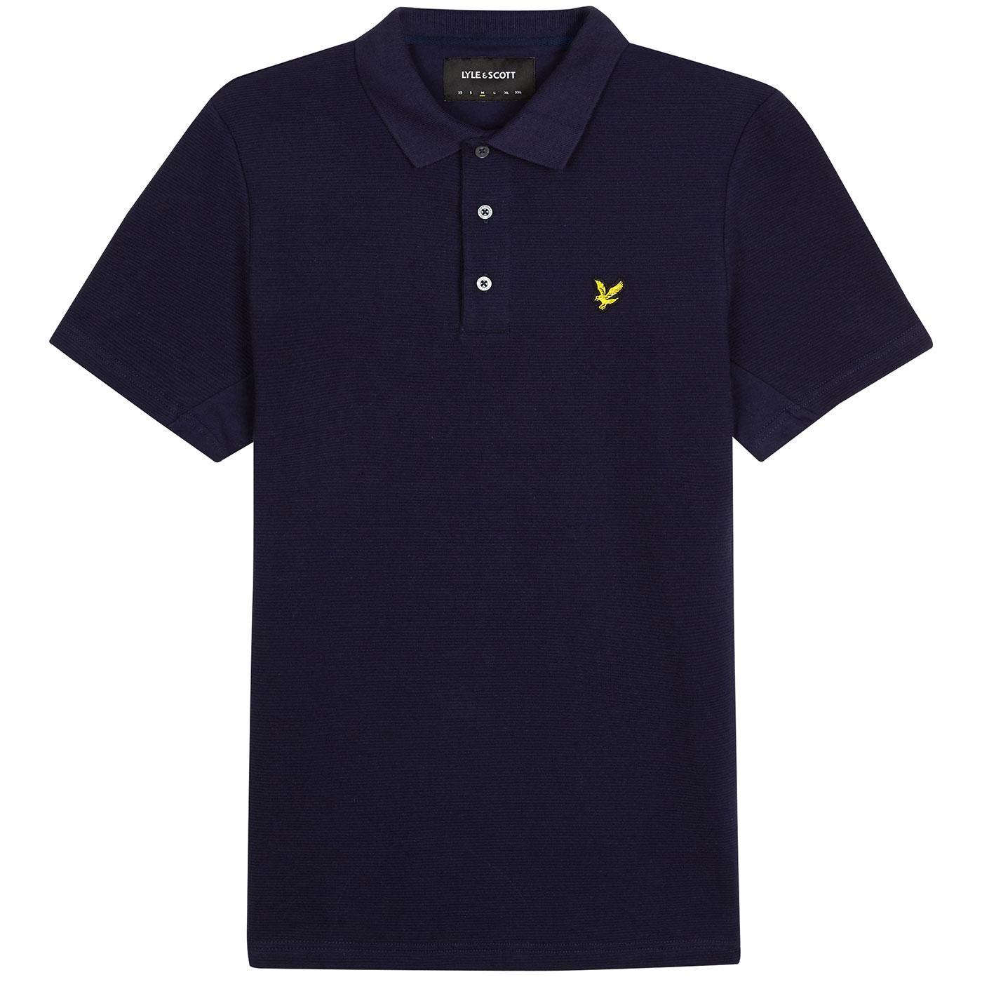 LYLE & SCOTT Mod Ottoman Ribbed Polo Shirt (Navy)