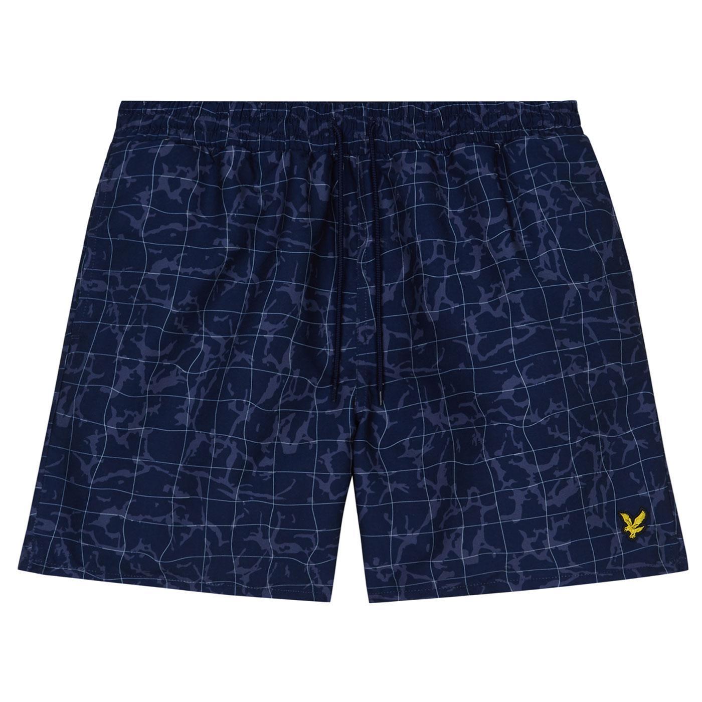 LYLE & SCOTT Retro Navy Pool Print Swim Shorts