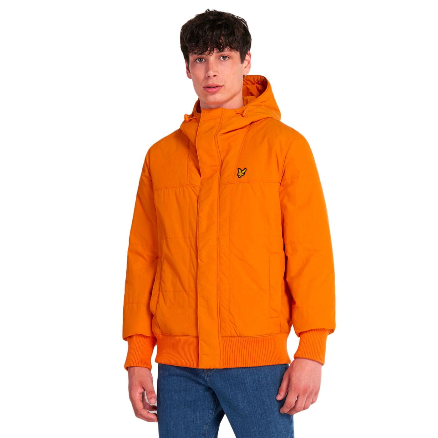 LYLE & SCOTT Retro Quilted Bomber Jacket in Orange