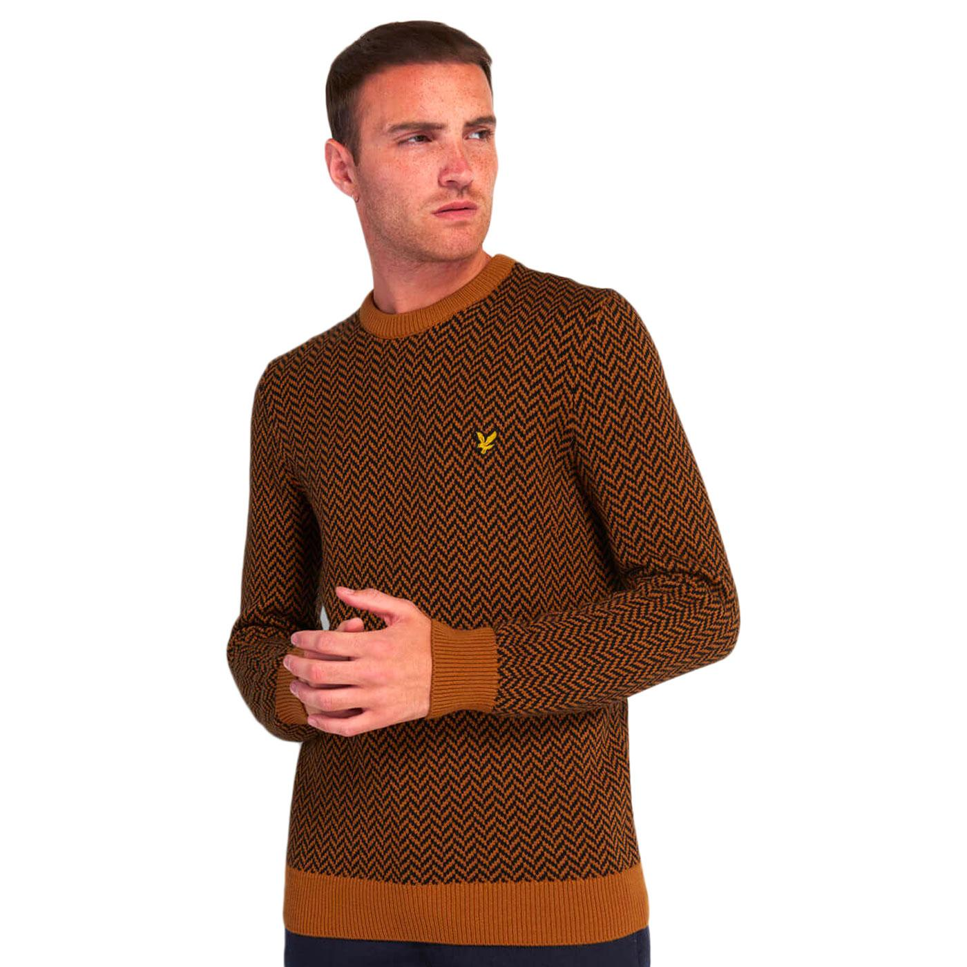 LYLE & SCOTT Mens Retro Herringbone Knitted Jumper