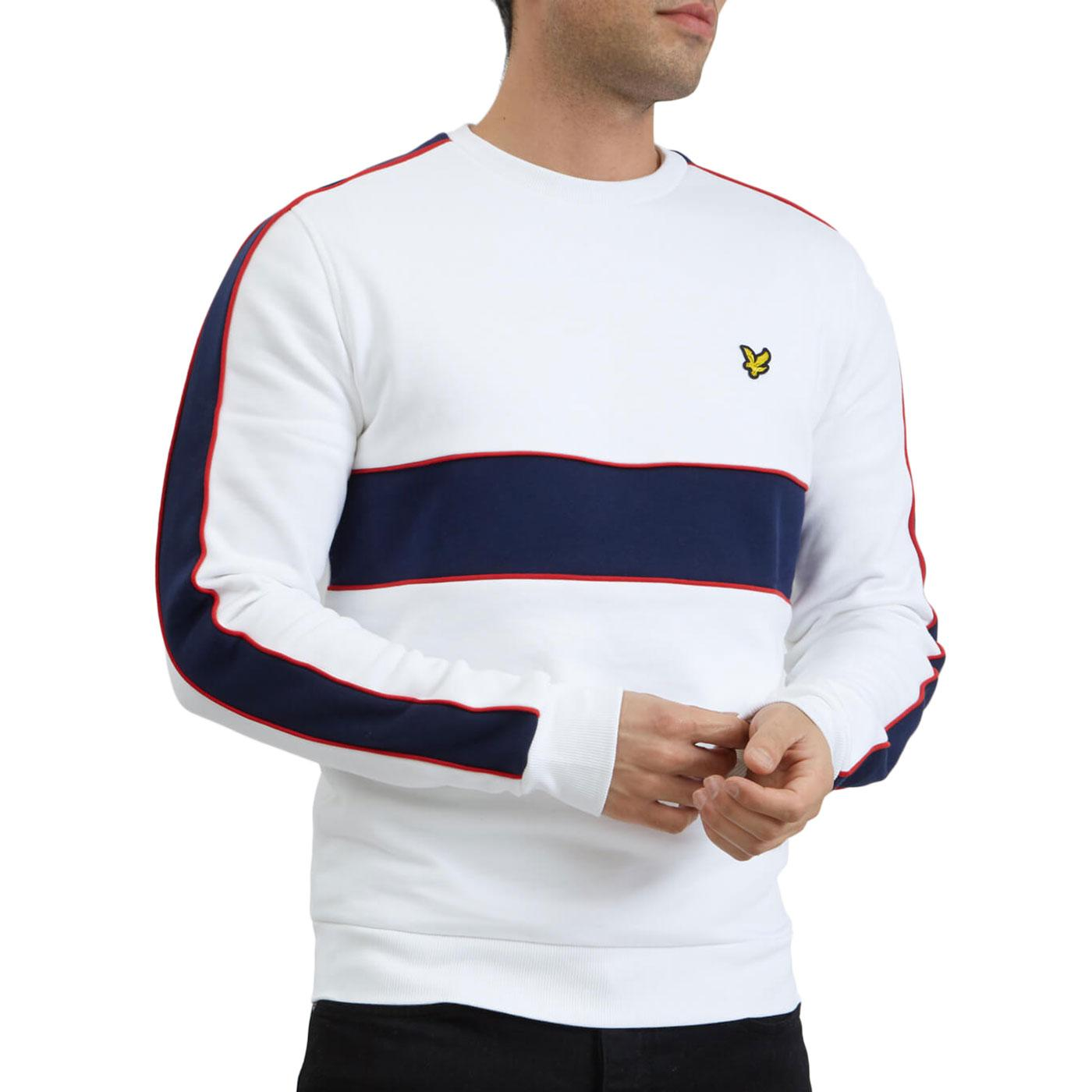 LYLE & SCOTT Retro 80s Cut & Sew Sweatshirt WHITE