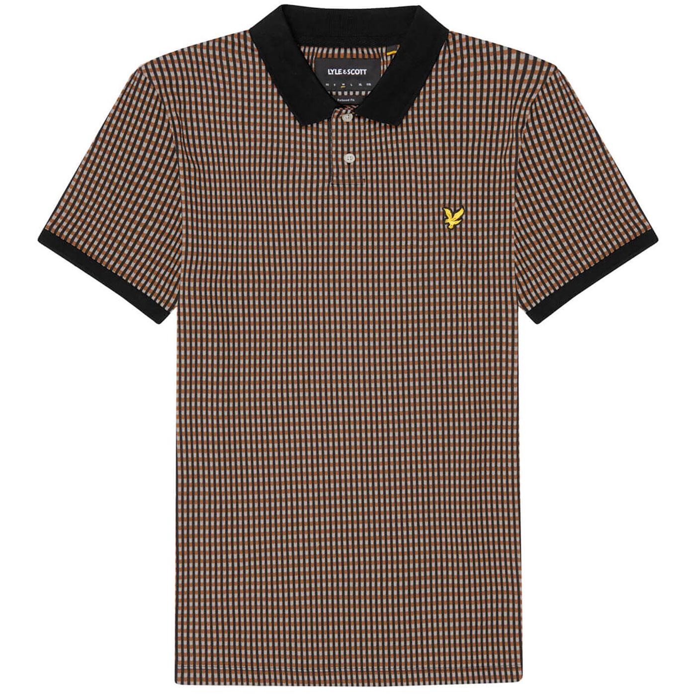 LYLE & SCOTT Retro Repeat Polo Top (Tawny Brown)