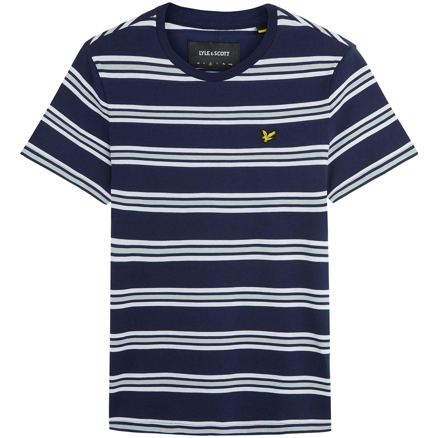 LYLE & SCOTT Indie Multi Stripe Crew Neck Tee NAVY