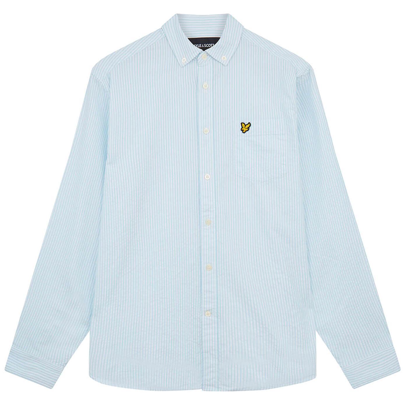 LYLE & SCOTT Mod Seersucker Stripe BD Shirt (Blue)